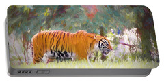 Portable Battery Charger featuring the painting Stalking Tiger by Judy Kay
