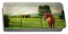 Portable Battery Charger featuring the photograph Stallion At Fence by Diana Angstadt