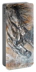 Portable Battery Charger featuring the painting Stallion Fury by Jennifer Godshalk