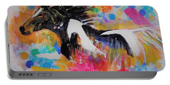 Stallion In Abstract Portable Battery Charger by Khalid Saeed