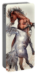 Stallion Showdown Portable Battery Charger by Margaret Stockdale