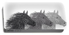 Portable Battery Charger featuring the drawing Stallions Shades by Nick Gustafson