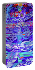 Portable Battery Charger featuring the painting Standing At The Edge Of The Abyss by Denise Weaver Ross