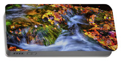 Standing In Motion - Leaves On A Rock 007 Portable Battery Charger by George Bostian