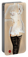 Standing Nude In Black Stockings With Flower And Bird In Hair Portable Battery Charger