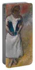 Standing Woman Seen From The Front, Clasping Her Corset Portable Battery Charger