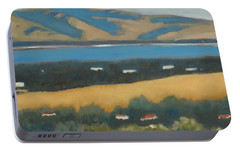 Portable Battery Charger featuring the painting Stanford By The Bay by Gary Coleman