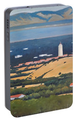 Portable Battery Charger featuring the painting Stanford From Hills by Gary Coleman