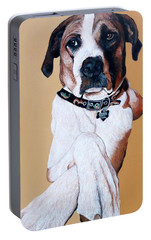 Portable Battery Charger featuring the painting Stanley by Tom Roderick