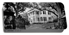 Stanton Hall. Natchez, Mississippi.    Black And White Portable Battery Charger
