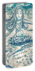 Portable Battery Charger featuring the painting Star Bearer Mermaid by Monique Faella