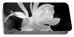 Star Magnolia Flower Black And White Portable Battery Charger