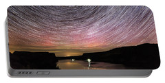 Portable Battery Charger featuring the photograph Star Trails And Aurora At Billy Chinook by Cat Connor