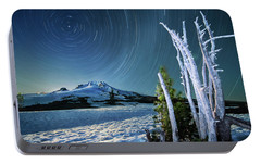 Portable Battery Charger featuring the photograph Star Trails Over Mt. Hood by William Lee
