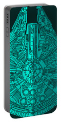 Star Wars Art - Millennium Falcon - Blue 02 Portable Battery Charger