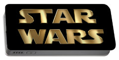 Star Wars Golden Typography On Black Portable Battery Charger by Georgeta Blanaru