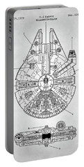 Portable Battery Charger featuring the digital art Star Wars Millennium Falcon Patent by Taylan Apukovska