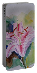 Portable Battery Charger featuring the painting Stargazer Lily Watercolor Still Life Gift  by Geeta Biswas