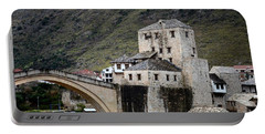 Stari Most Ottoman Bridge And Embankment Fortification Mostar Bosnia Herzegovina Portable Battery Charger