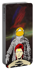 Portable Battery Charger featuring the drawing Starman Bowie by Jason Tricktop Matthews