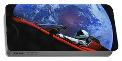Portable Battery Charger featuring the photograph Starman In Tesla With Planet Earth by SpaceX