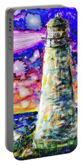 Portable Battery Charger featuring the painting Starry Light by Monique Faella
