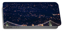 Portable Battery Charger featuring the photograph Starry Lions Gate Bridge - Mdxxxii By Amyn Nasser by Amyn Nasser