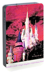 Portable Battery Charger featuring the digital art Starry Night Cinderella's Castle Walt Disney World by A Gurmankin