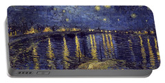 Portable Battery Charger featuring the painting Starry Night Over The Rhone by Van Gogh