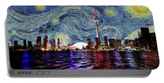 Portable Battery Charger featuring the painting Starry Night Toronto Canada by Movie Poster Prints