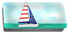Stars And Strips Sailboat Portable Battery Charger