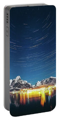 Startrails Above Reine Portable Battery Charger