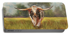 Portable Battery Charger featuring the painting State Your Business by Karen Kennedy Chatham