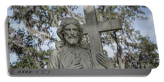 Portable Battery Charger featuring the photograph Statue Of Jesus And Cross by Kim Hojnacki