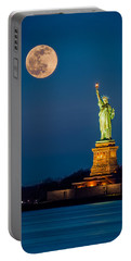 Statue Of Liberty And A Rising Supermoon In New York City Portable Battery Charger