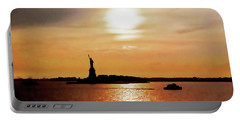 Statue Of Liberty At Sunset Portable Battery Charger