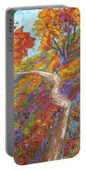 Stay On The Path - Modern Impressionist, Landscape Painting, Oil Palette Knife Portable Battery Charger