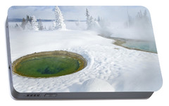 Portable Battery Charger featuring the photograph Steam And Snow by Gary Lengyel