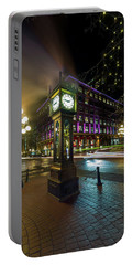 Steam Clock In Gastown Vancouver Bc At Night Portable Battery Charger