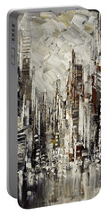 Portable Battery Charger featuring the painting Steam Over Gotham by Tatiana Iliina