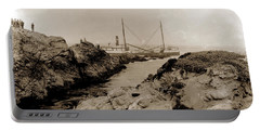 Steam Schooner S S J. B. Stetson, Ran Aground At Cypress Point, Sep. 1934 Portable Battery Charger by California Views Mr Pat Hathaway Archives