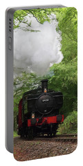 Steam Train Approaching In The Forest Portable Battery Charger by Gill Billington