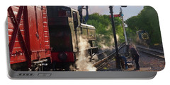 Steam Train Taking On Water Portable Battery Charger by Gill Billington