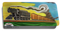 Portable Battery Charger featuring the painting Steaming West Bound by Margaret Harmon