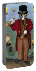 Portable Battery Charger featuring the painting Steampunk Cat Guy - Victorian Cat by Carrie Hawks