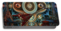 Portable Battery Charger featuring the digital art Steampunk Guitar by Louis Ferreira