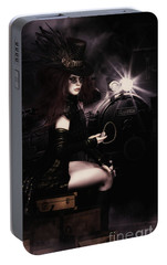 Portable Battery Charger featuring the digital art Steampunkxpress by Shanina Conway