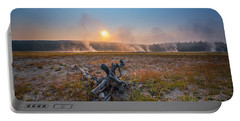 Steamy Sunrise In Yellowstone Portable Battery Charger