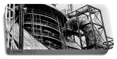 Steel Mill In Black And White - Bethlehem Portable Battery Charger by Bill Cannon
