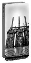 Steel Stacks - The Bethehem Steel Mill In Black And White Portable Battery Charger by Bill Cannon
